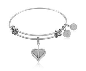 Expandable White Tone Brass Bangle with Heart With Cross Symbol