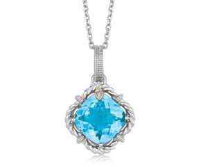 Cushion Blue Topaz and Diamond Accented Rope Design Pendant in 18K Yellow Gold and Sterling Silver