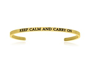 Yellow Stainless Steel Keep Calm And Carry On Cuff Bracelet