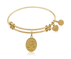 Expandable Yellow Tone Brass Bangle with Initial R Symbol