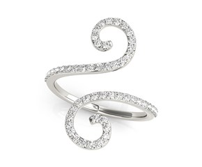Curl Style Diamond Open Ring in 14K White Gold (1/2 ct. tw.)