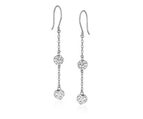 Two-Layer Crystal Ball Dangling Earrings in 14K White Gold