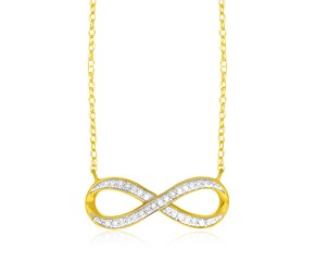 Diamond Accented Infinity Chain Necklace in 14K Yellow Gold (.09ct)