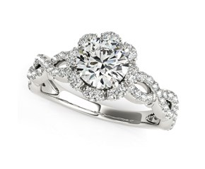 Floral Design Fancy Shank Round Diamond Engagement Ring in 14K White Gold (1 5/8 ct. tw.)