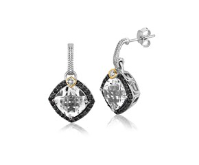Crystal Quartz and Diamond Accented Cushion Drop Earrings in 18K Yellow Gold and Sterling Silver (.43 ct. tw.)