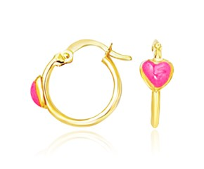 Heart Motif Hoop Style Earrings in 14K Yellow Gold