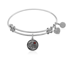 Expandable White Tone Brass Bangle with I Love Rock and Roll Enamel Symbol