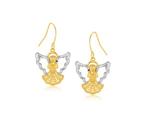 Angel Motif Drop Earrings in 10K Two-Tone Gold