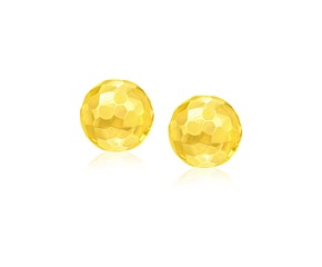 Faceted Round Stud Earrings in 14K Yellow Gold