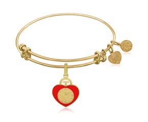Expandable Yellow Tone Brass Bangle with Heart Badge Symbol