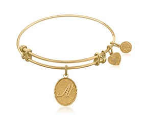 Expandable Yellow Tone Brass Bangle with Initial N Symbol