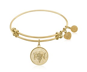Expandable Yellow Tone Brass Bangle with Registered Nurse Care Compassion Symbol
