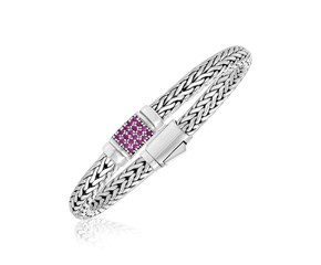 Pink Sapphire Embellished Weave Style Bracelet in Sterling Silver