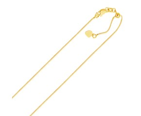 Adjustable Box Chain in 14K Yellow Gold (.70mm)
