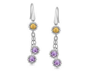Round Amethyst Embellished Flower Style Dangling Earrings in 18K Yellow Gold and Sterling Silver