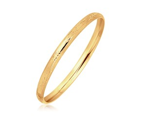 Diamond Cut Dome Children's Bangle in 14K Yellow Gold