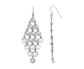 Polished Drop Earrings with Circles in Sterling Silver