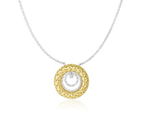 Textured Multi-Circle Necklace with Diamond in 14K Two-Tone Gold (.03ct)
