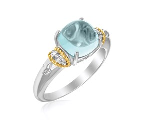 Square Blue Topaz and Diamond Ring in 18K Yellow Gold and Sterling Silver