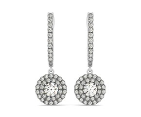 Round Double Halo Style Diamond Drop Earrings in 14K White Gold (1 ct. tw.)