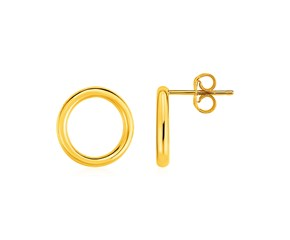 Open Circle Post Earrings in 14K Yellow Gold