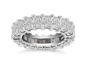 Classic Emerald Cut Diamond Eternity Ring in 14K White Gold