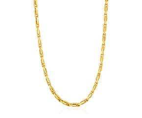 14K Yellow Gold Necklace with Long Oval Links