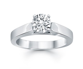 Wide Cathedral Solitaire Engagement Ring in 14K White Gold