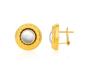 14K Two-Tone Yellow and White Gold Ball and Rope Texture Post Earrings