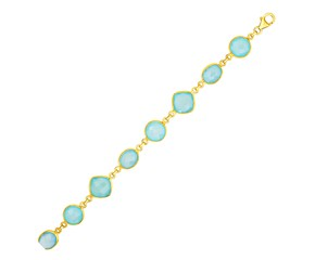 Bracelet with Aqua Chalcedony Links with Yellow Finish in Sterling Silver