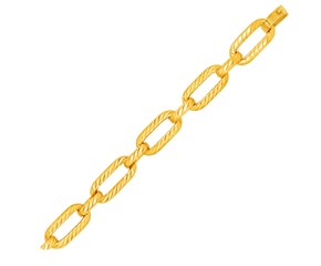 14K Yellow Gold Textured Long Oval Link Bracelet