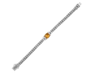 Woven Chain Bracelet with Citrine and White Sapphires in Sterling Silver