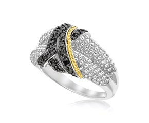 Popcorn Ring with Black Diamonds in 18K Yellow Gold and Sterling Silver (.14ct tw)