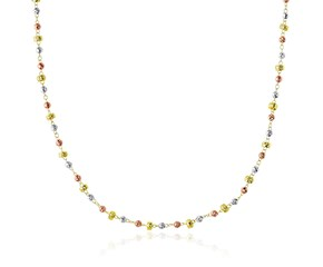 Faceted Barrel and Round Bead Chain Necklace in 14K Tri-Color Gold