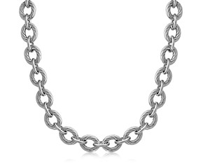 Diamond Cut Chain  Rhodium Plated Necklace in Sterling Silver (39.0g)