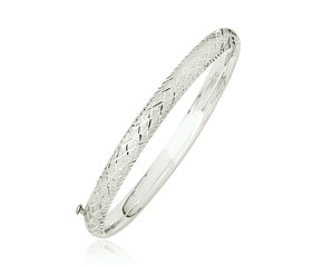 Fancy Diamond Cut Bangle in 14K White Gold (6.0mm)