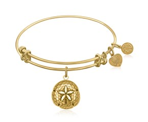 Expandable Yellow Tone Brass Bangle with Sand Dollar Symbol