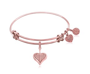 Expandable Pink Tone Brass Bangle with Heart With Cross Symbol