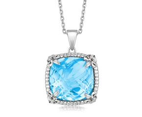 Sky Blue Topaz Square Pendant with White Sapphires Necklace in Sterling Silver