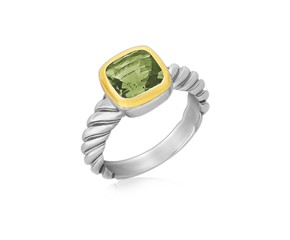 Cushion Green Amethyst Cable Style Ring in 18K Yellow Gold and Sterling Silver