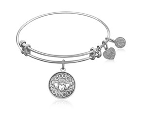 Expandable White Tone Brass Bangle with The Claddagh Love And Friendship Symbol