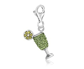 Cocktail Glass Green Tone Crystal Studded Charm in Sterling Silver