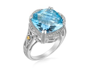 Blue Topaz and Diamond Embellished Fleur De Lis Design Cushion Ring in 18K Yellow Gold and Sterling Silver (.09 ct. tw.)