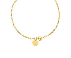 Heart Accent Toggle Necklaces in 14K Yellow Gold