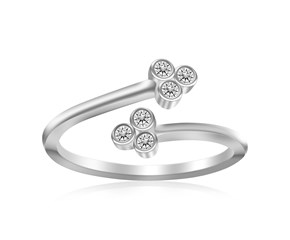 Cubic Zirconia Accented Floral Style Open Toe Ring in Rhodium Finished Sterling Silver