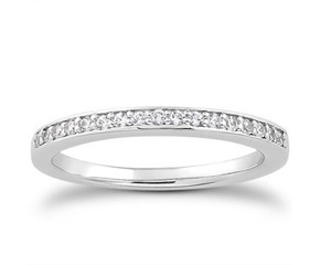 Micro-pave Diamond Wedding Ring Band in 14K White Gold