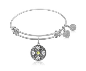 Expandable White Tone Brass Bangle with Peridot August Symbol