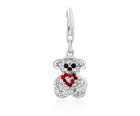 Bear Charm with Multi Color Crystal Accents in Sterling Silver