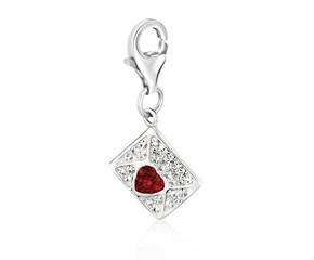 Envelope Multi Tone Crystal Encrusted Charm in Sterling Silver
