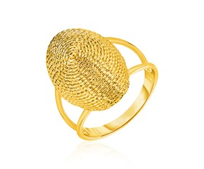 14K Yellow Gold Ring with Textured Oval Dome Top